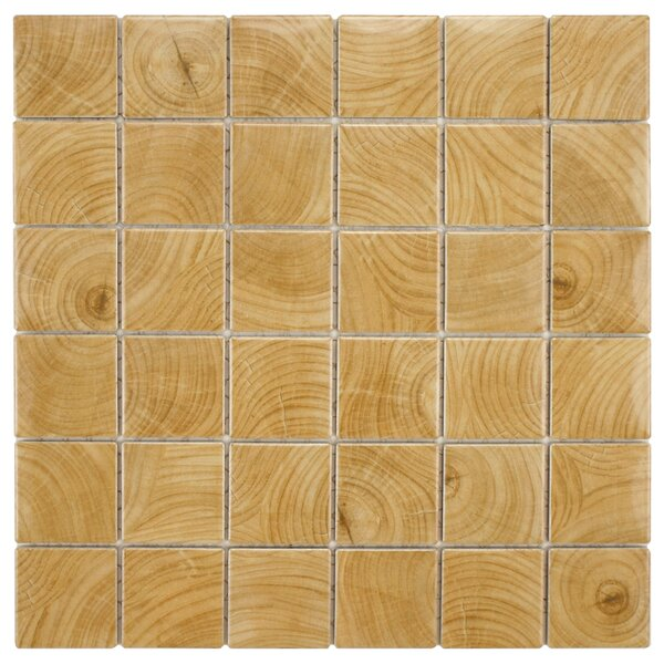 Thicket 1.85 x 1.85 Porcelain Mosaic Tile in Wood Beige by EliteTile