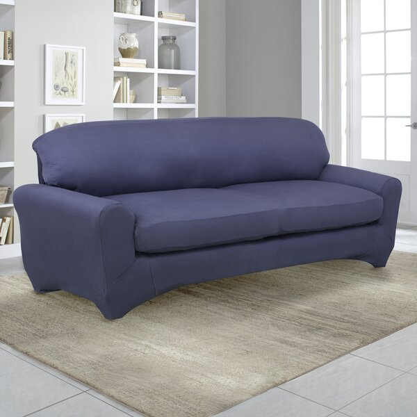 Stretch Fit Box Cushion Sofa Slipcover By Serta