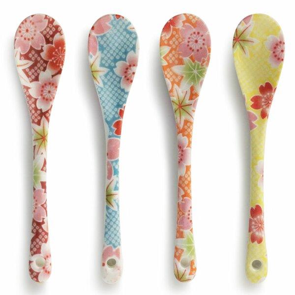 4-Piece Floral Print Dessert Spoon by Miya Company
