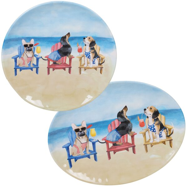 Cavanagh Dogs 2 Piece Melamine Platter Set by Highland Dunes