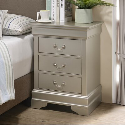 Babcock 3 Drawer Nightstand Lark Manor Color: Silver Champagne
