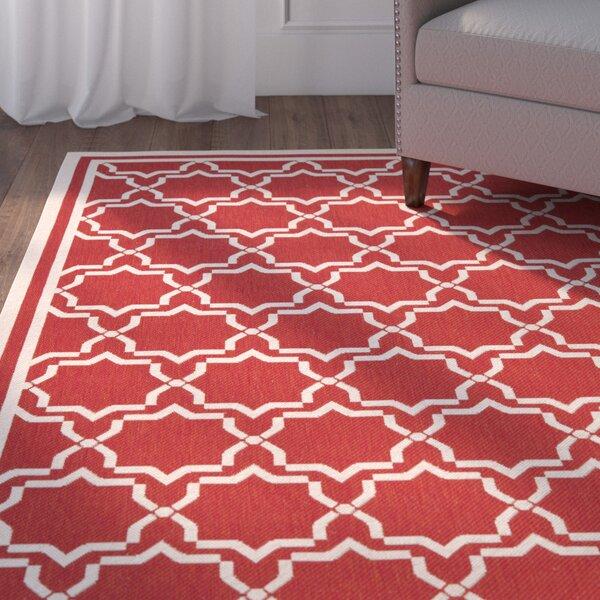 Short Red / Bone Indoor/Outdoor Rug by Winston Porter