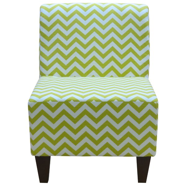Penelope Armless Chevron Canal Green Slipper Chair by Fox Hill Trading