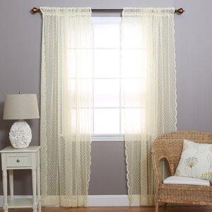 Polka Dots Semi-Sheer Rod Pocket Curtain Panels (Set of 2)