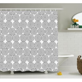 Look for Kathryn Vintage Triple Spiral Pattern With Rotational Symmetric Lines Boho Decor Shower Curtain ByEbern Designs