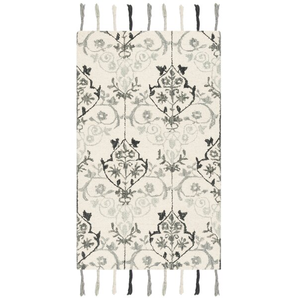 Niederanven Hand Tufted Wool Ivory/Gray Ikat Area Rug by Bungalow Rose