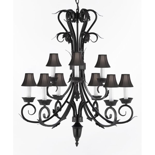 Kendricks 9-Light Shaded Tiered Chandelier by House of Hampton House of Hampton