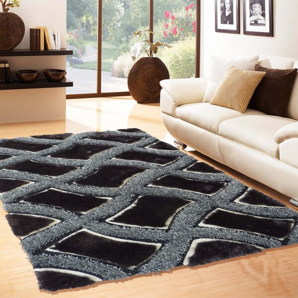 Rosehill Hand Tufted Black/Silver Area Rug by Latitude Run