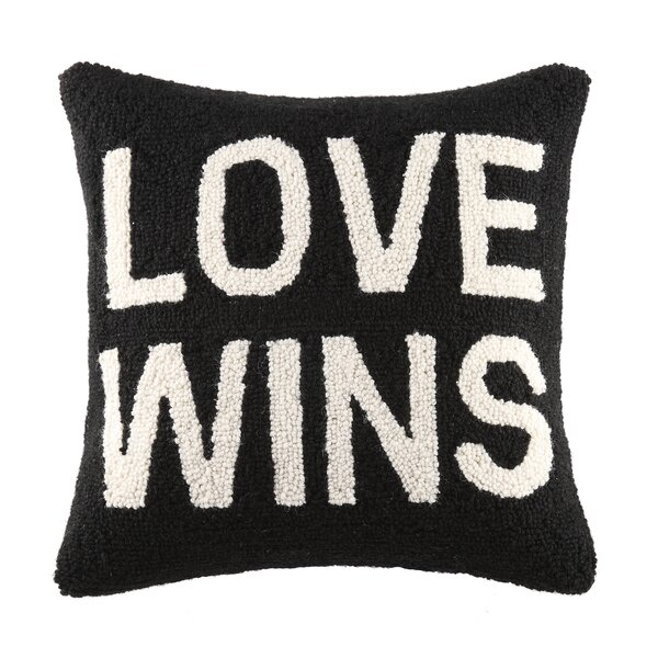 Love Wins Square Hook Wool Throw Pillow by Peking Handicraft