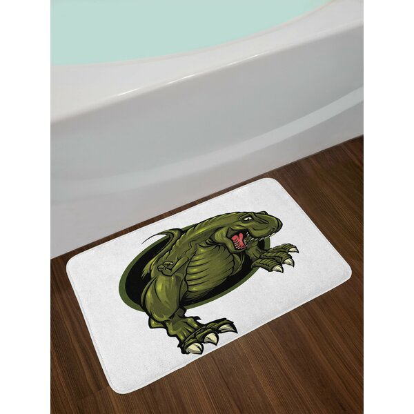 Jurassic Roaring T-rex Mascot Ancient Animal Horror Wildlife Wilderness Extinct Non-Slip Plush Bath Rug by East Urban Home