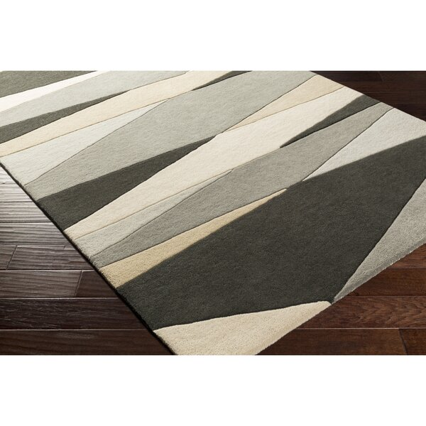Dewald Hand-Tufted Gray/Beige Area Rug by Ebern Designs