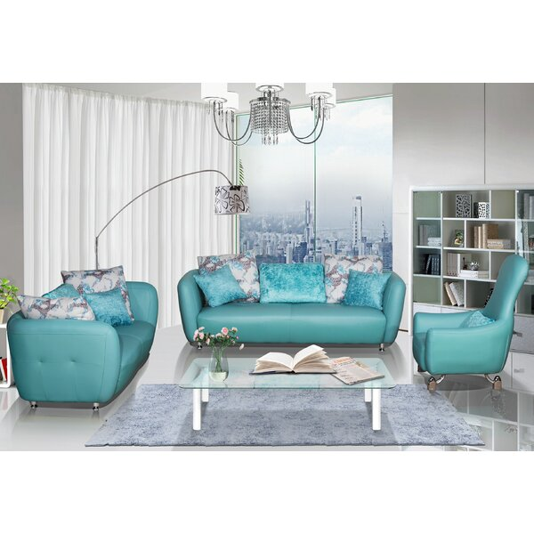 Abordale 3 Piece Leather Living Room Set by Latitude Run