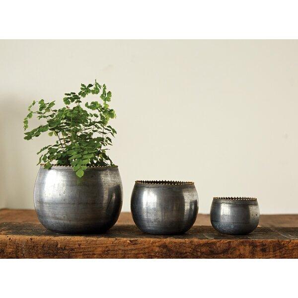 Eckman 3-Piece Metal Pot Planter Set by Bungalow Rose