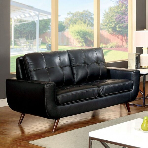 Durrant Cushioned Leather Loveseat by Corrigan Studio