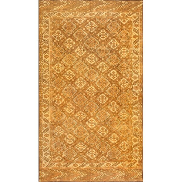 One-of-a-Kind Afghan Hand-Knotted 1900s Orange 6'5 x 11' Wool Area Rug
