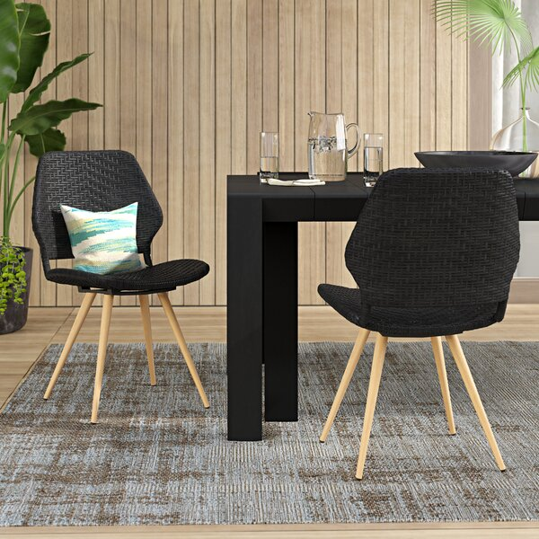 Melby Wicker Patio Dining Chair (Set of 2) by Wrought Studio