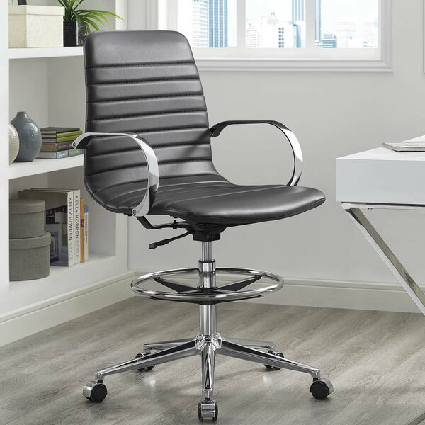 Gwaltney Ribbed Back Ergonomic Drafting Chair by Orren Ellis