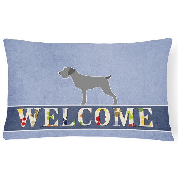 Holtby German Wirehaired Pointer Welcome Lumbar Pillow by Red Barrel Studio