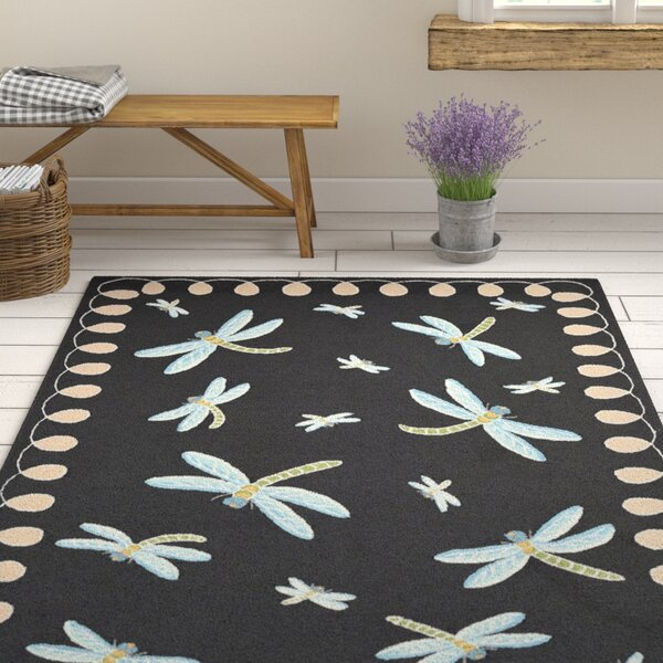 Calderon Dragonfly Hand-Tufted Black Indoor/Outdoor Area Rug by August Grove