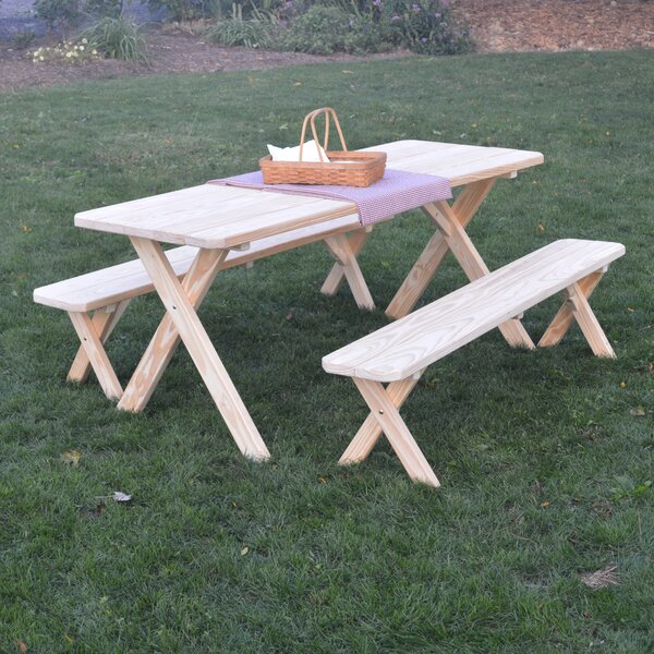 Sherburne Pine Cross-leg Picnic Table with 2 Benches by Loon Peak