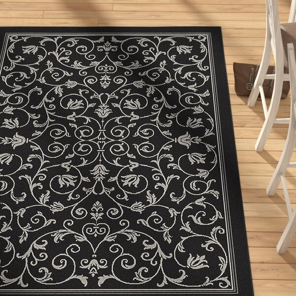 Asheville Black/Sand Outdoor Area Rug by Alcott Hill