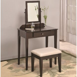 Solid Wood Vanity Set with Stool and Mirror by American Furniture Classics