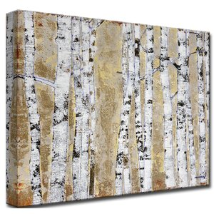 'October Birch Grove' by Norman Wyatt Jr. Painting Print on Wrapped Canvas by Ready2hangart