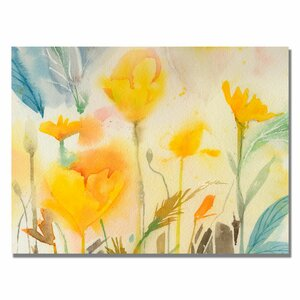 'Yellow Poppies' by Sheila Golden Framed Painting Print on Wrapped Canvas by Trademark Fine Art