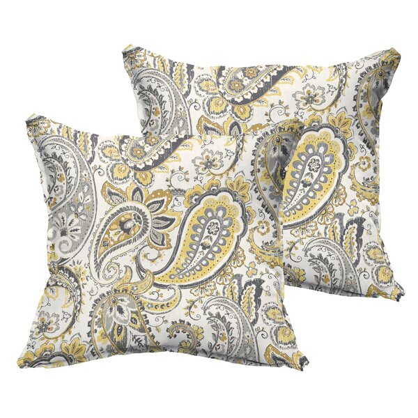 Frosses Paisley Flange Indoor/Outdoor Throw Pillow (Set of 2) by Alcott Hill