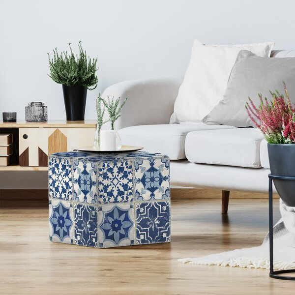 PI Creative Art Indigo Mosaic Tile I Standard Ottoman By East Urban Home