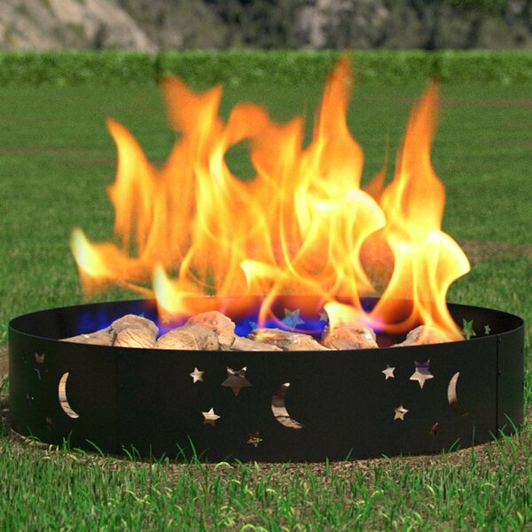 Boston Star and Moon Steel Wood Burning Fire Ring by Regal Flame