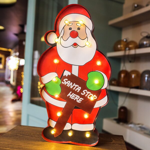 Marquee Santa Sign Wall Décor by The Holiday Aisle