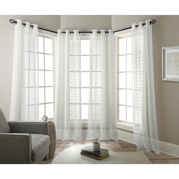 Aesara Solid Sheer Curtain Panels (Set of 4) by Mistana