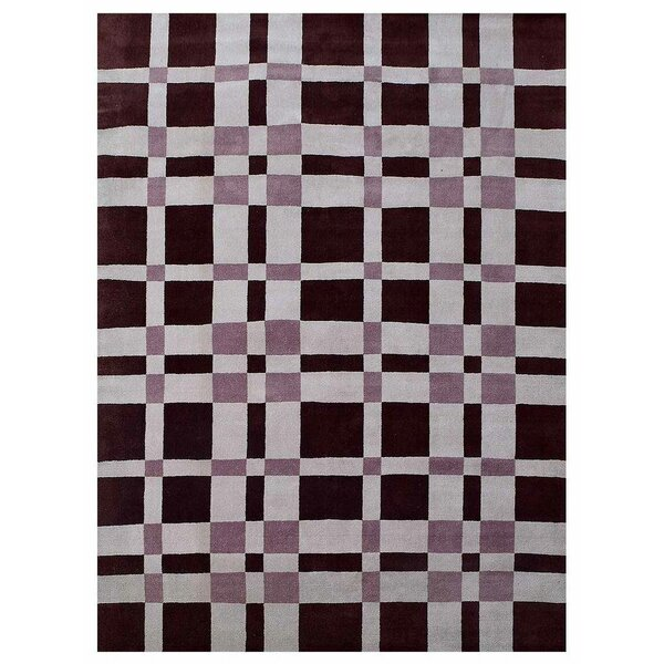 Ry Hand-Knotted Wool Burgundy/Gray Area Rug by Latitude Run