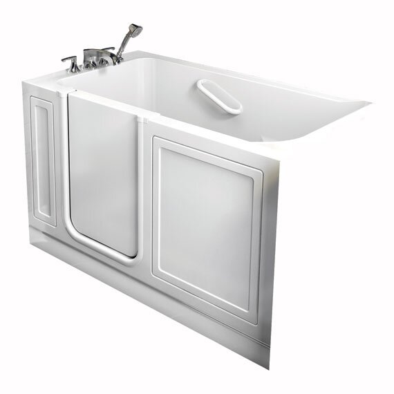 Acrylic 51 x 26 Walk-In Air/Whirlpool Bathtub with Air Spa and Drain by American Standard
