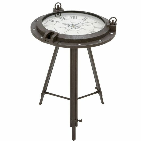 Colleen Industrial Metal Round Clock Coffee Table by Breakwater Bay