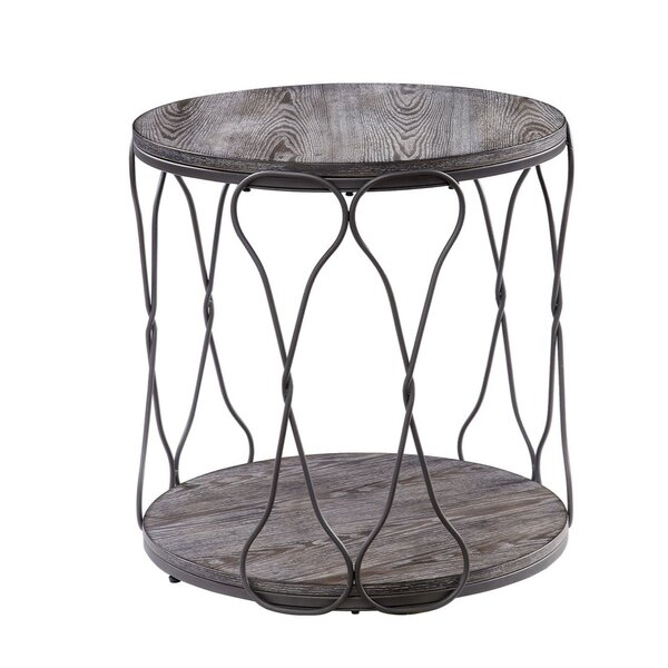 Malley Round Industrial Metal and Solid Wood End Table by Williston Forge Williston Forge