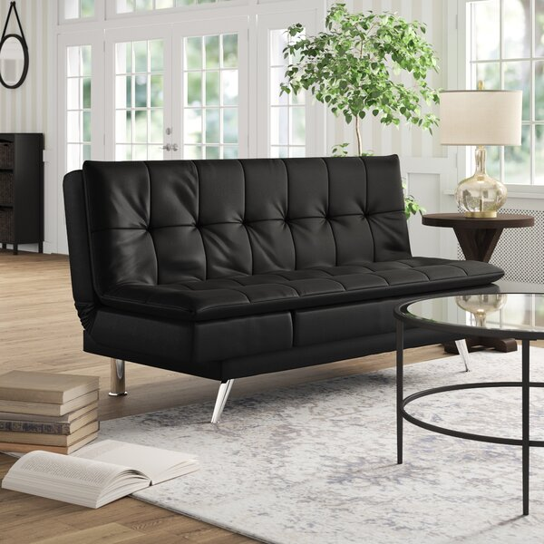 Black Leather Sleeper Sofa by Latitude Run