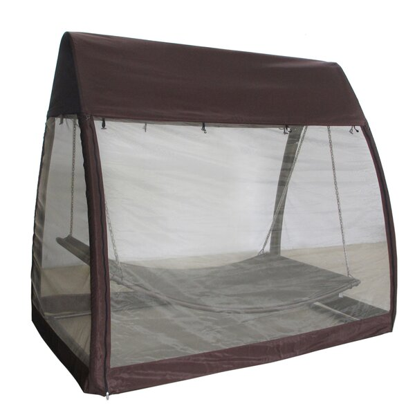 Bruggeman Outdoor Arched Canopy Cover Hanging Swing Polyester Hammock with Stand by Freeport Park