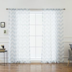 Keelin Curtain Chevron Sheer Rod Pocket Curtain Panels (Set of 2)