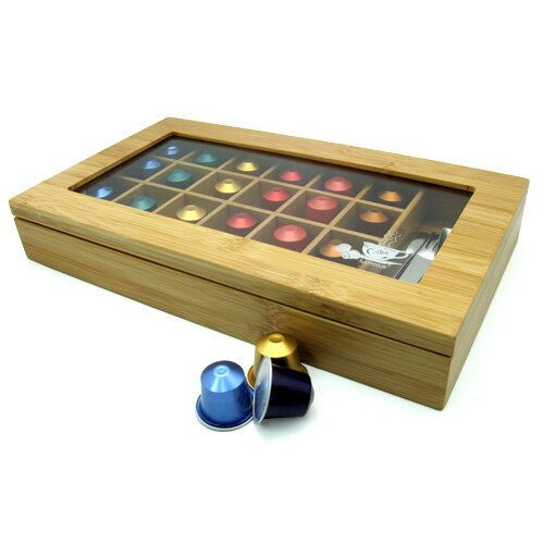 Modern Home Bamboo Nespresso 24 Capsule Organizer/Display Box by Vandue Corporation