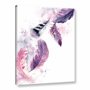 'Purple Feathers' Print on Canvas by Bungalow Rose