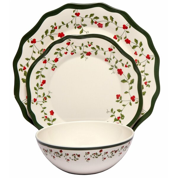 Alphonso Holiday Berry Melamine 12 Piece Dinnerware Set by August Grove