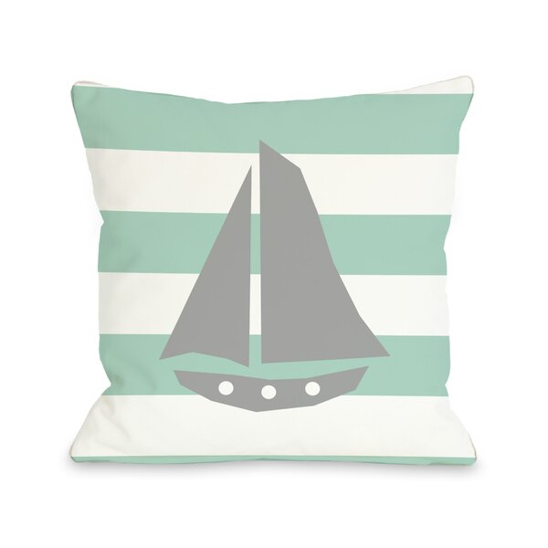 Striped Sailboat Throw Pillow by One Bella Casa