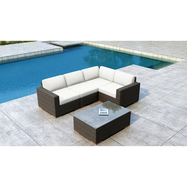 Glen Ellyn 5 Piece Sunbrella Sectional Seating Group with Sunbrella Cushions by Everly Quinn