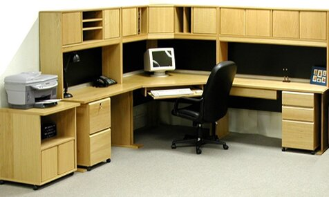 Office Modulars Corner Executive Desk with Hutch
