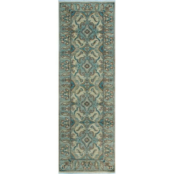 One-of-a-Kind Suzann Fine Chobi Hand-Knotted Green Area Rug by Isabelline