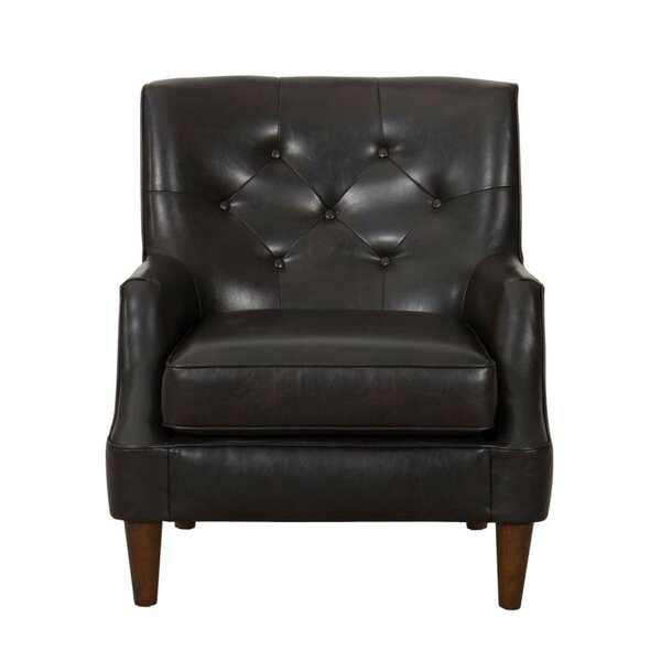 Hogansville Button Tufted Faux Leather Upholstered Wooden Armchair by 17 Stories