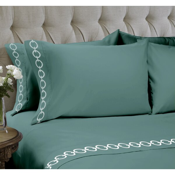 Chain Embroidered 4 Piece Sheet Set by Easy Living Home