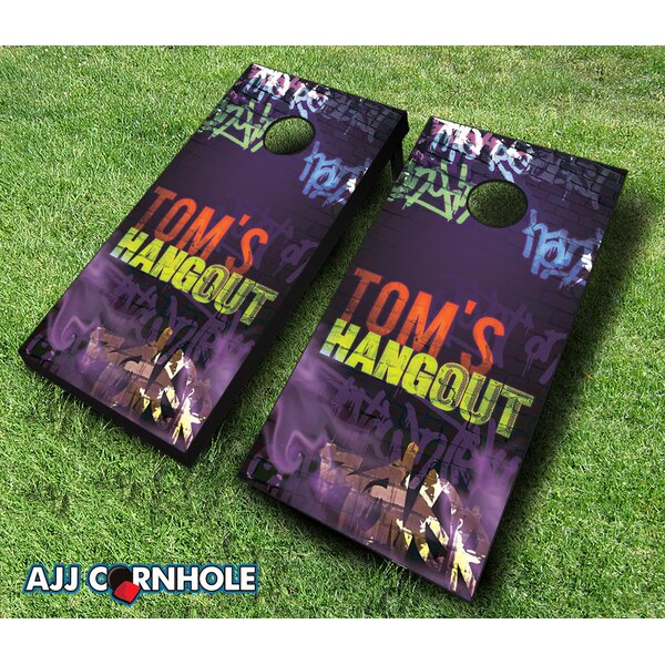 10 Piece Blacklight Hangout Cornhole Set by AJJ Cornhole